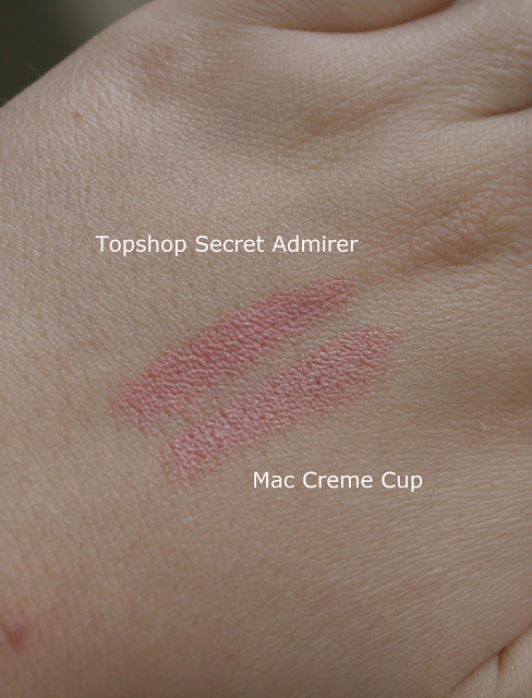 MAC, Mac, lipstick, creme cup, swatches, topshop, secret admirer