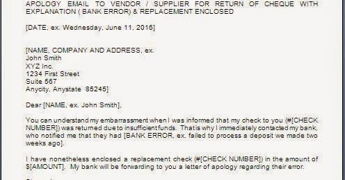 Cheque Bounce Apology Letter Format In Word