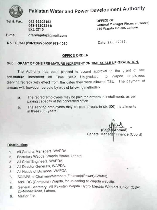 GRANT OF ONE PRE-MATURE INCREMENT ON TIME SCALE UP-GRADATION TO WAPDA EMPLOYEES