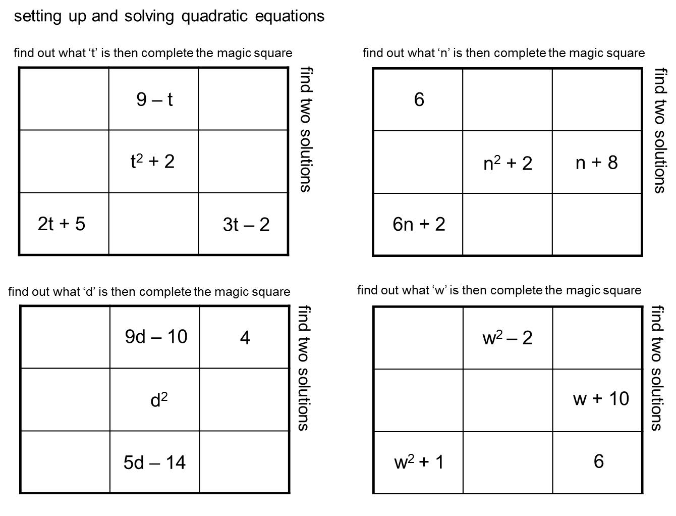 Median Don Steward Magic Squares Quadratic Equations