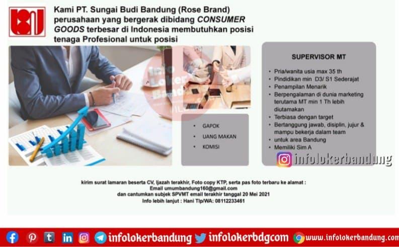 Lowongan Kerja PT. Sungai Budi ( Rose Brand ) Bandung Mei 2021