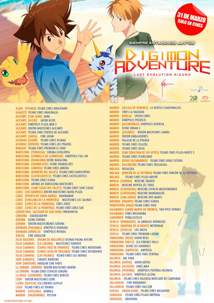 Digimon Adventure Last Evolution Kizuna anime film - Selecta Visión - cines