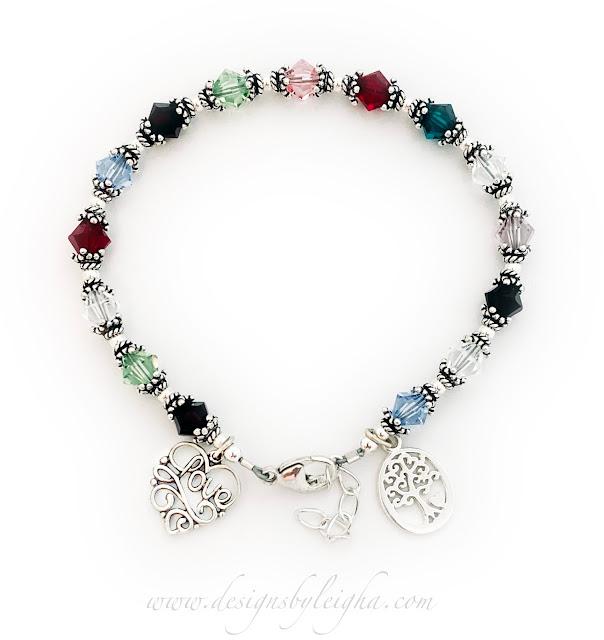 15 Birthstones Bracelet with 6mm Bicone Crystals