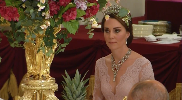 Kate Middleton wears Princess Diana's tiara to state banquet for Spanish royals