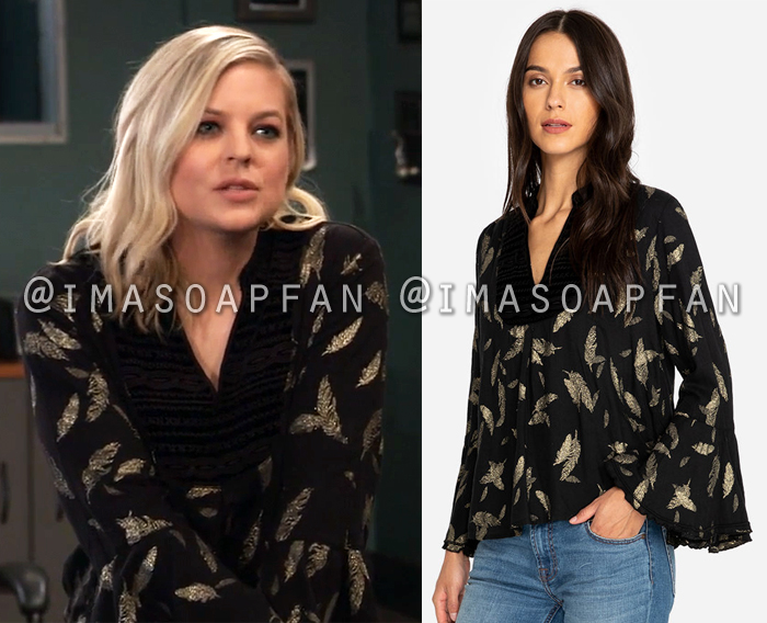 Maxie Jones, Kirsten Storms, Black and Gold Feather Print Blouse with Velvet Trim, General Hospital, GH