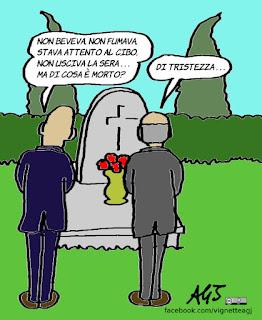 salutismo, vita sana, umorismo, cause di morte, vignetta