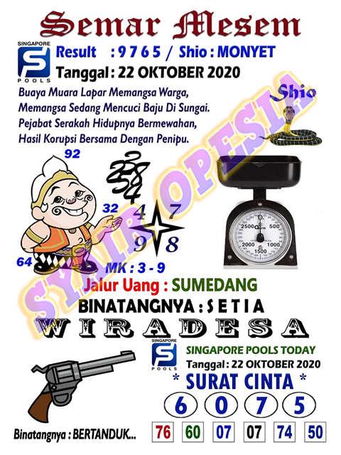 Kode syair Singapore Kamis 22 Oktober 2020 4