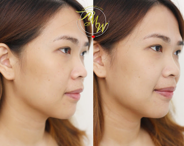a before and after photo of Nikki Tiu wearing Cathy Doll Geisha Niigata Malt Powder