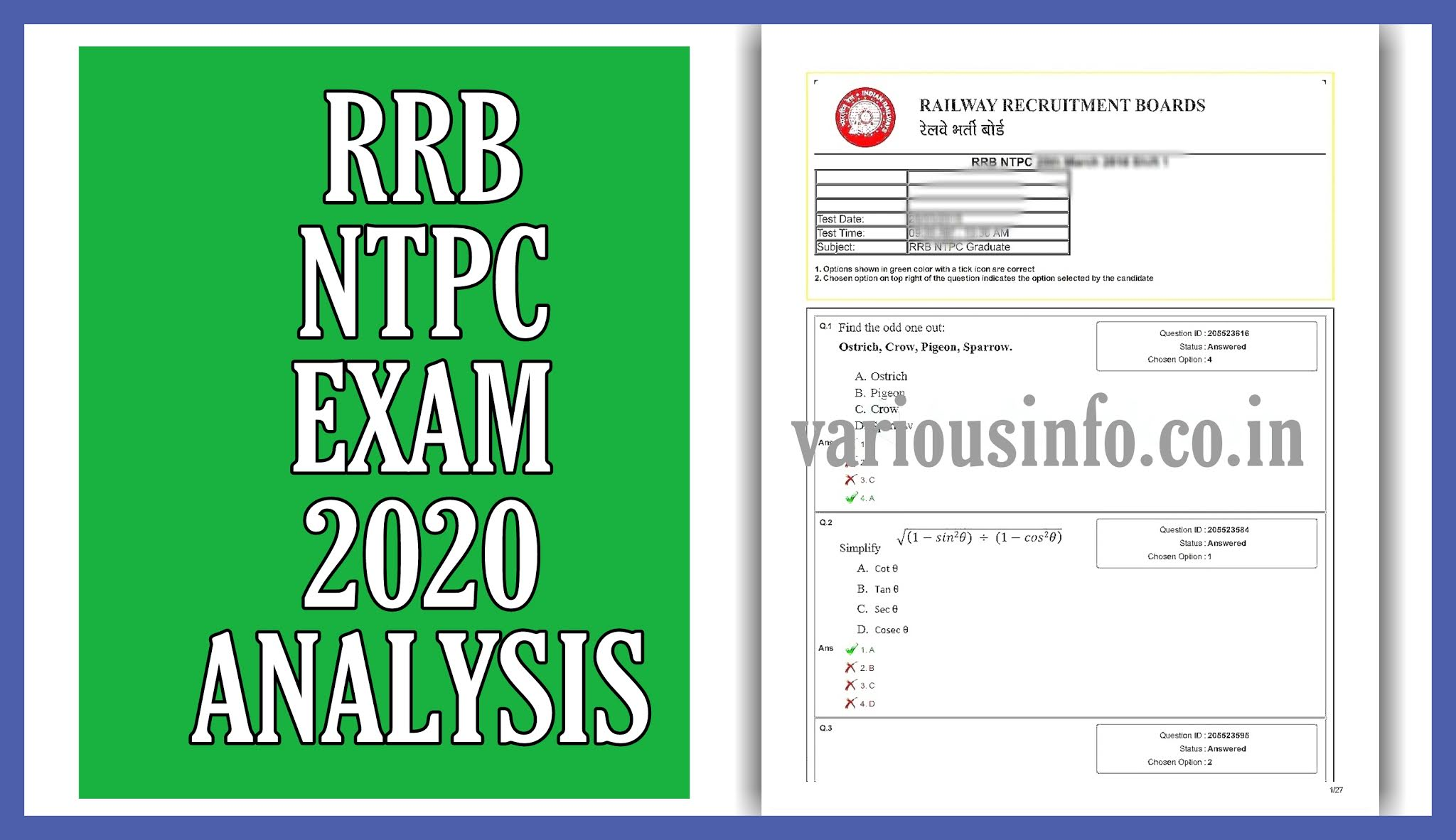 RRB NTPC Exam Analysis 2020 in hindi: RRB NTPC Exam 28th December 2020 Shift-2 का Analysis और Review