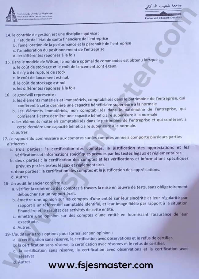 Exemple Concours Master Comptabilité Contrôle Audit (CCA) 2019-2020 - Fsjes El Jadida