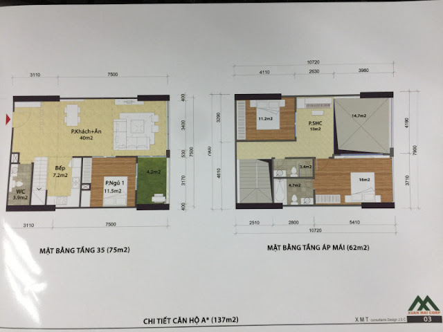 Thiết kế căn hộ 137m2 loại A penthouse kết hợp thông tầng và sân vườn CT1 Eco green city