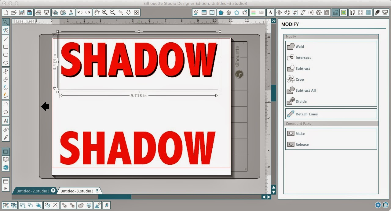 Silhouette Studio, shadow tutorial, shadow text