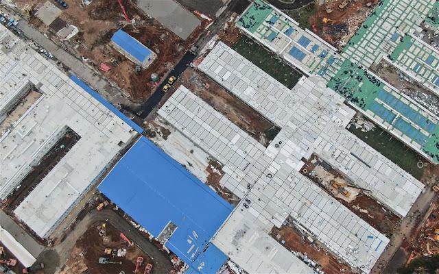 Hospital Huoshenshan - Foto aérea