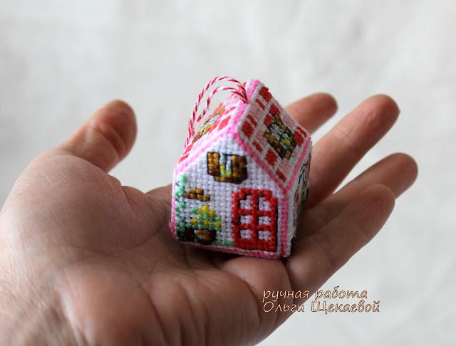 домик, крестиком, вышивка