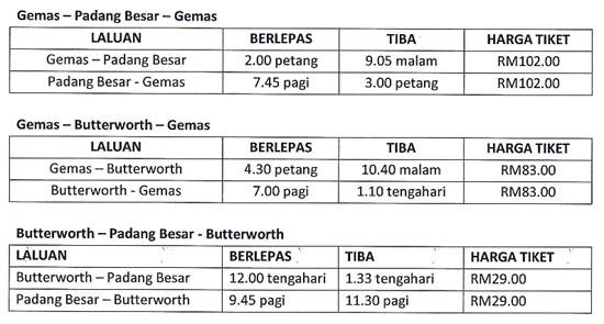 Harga Tiket ETS KTM Gemas-Butterworth-Padang Besar