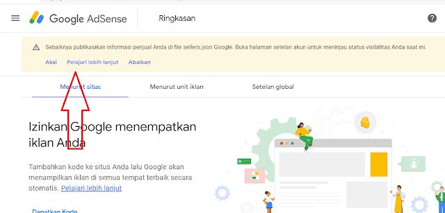Pesan Publikasi Informasi Penjual di file Seller.json Google Adsense