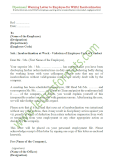 sample warning letter to employee for insubordination