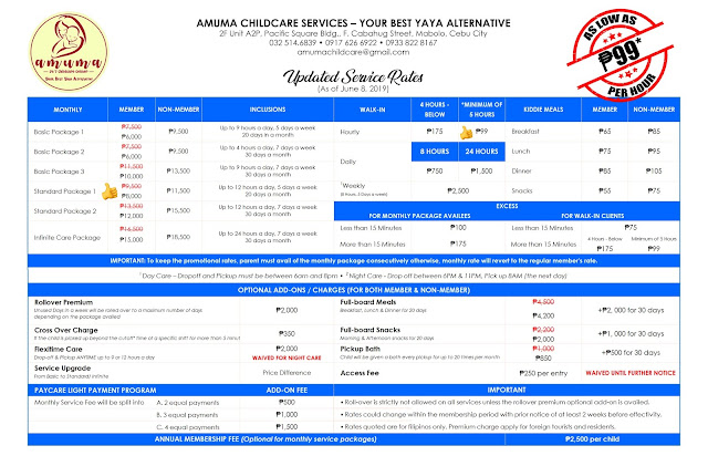amuma childcare services cebu - rates