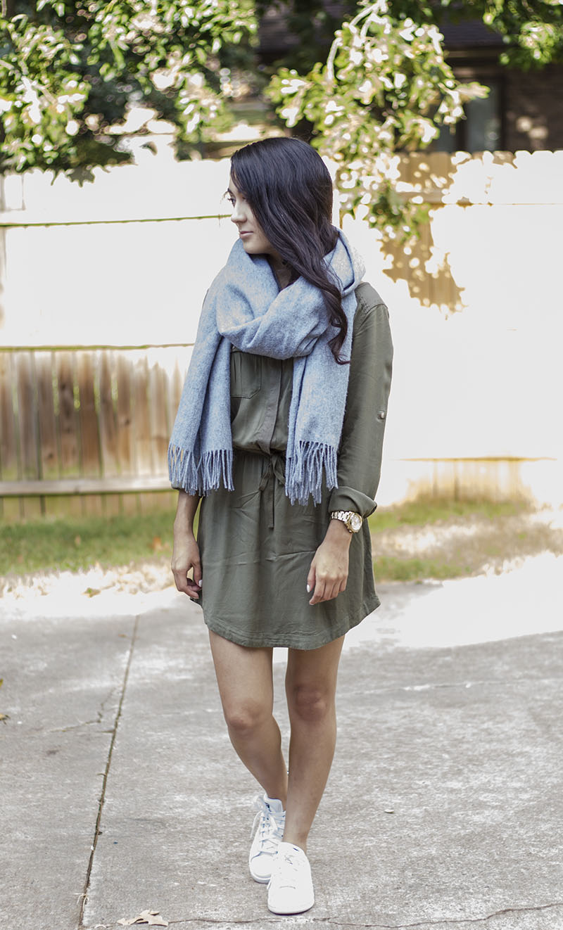 olive green utility dress and stan smith sneakers