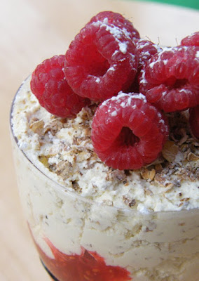 Scottish Cranachan - a traditional dessert with oats, cream, whisky and raspberries