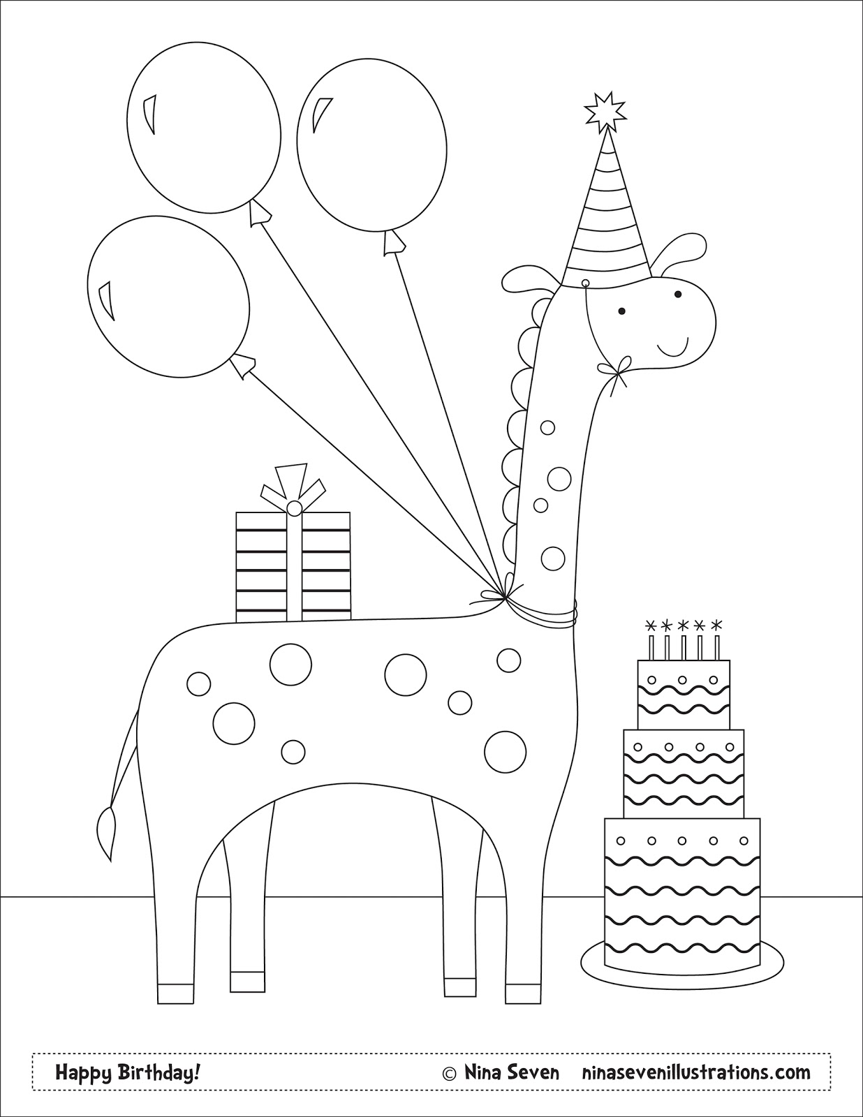 Customizable Happy Birthday Coloring Page Coloring Pages