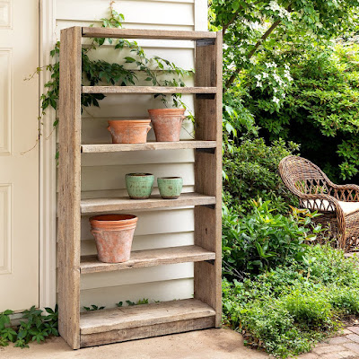 rustic reclaimed wood potter's shelf for garden