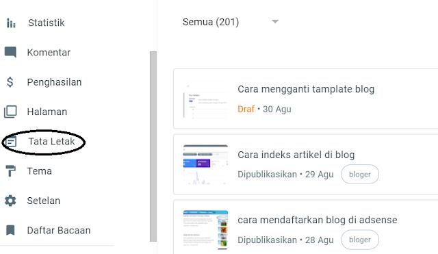 pilih letak halaman tamplate blog