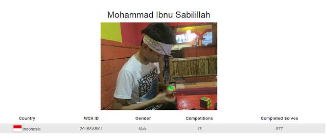 Profile akun WCA dari Mohammad Ibnu Sabilillah yang merupakan peringkat ketiga nasional menyelesaikan rubik megaminx kategori single