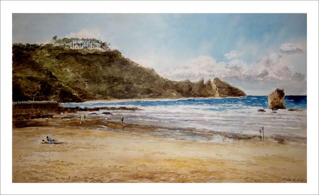 cuadro en acuarela de la playa de Aguilar, Asturias. Rubén de Luis