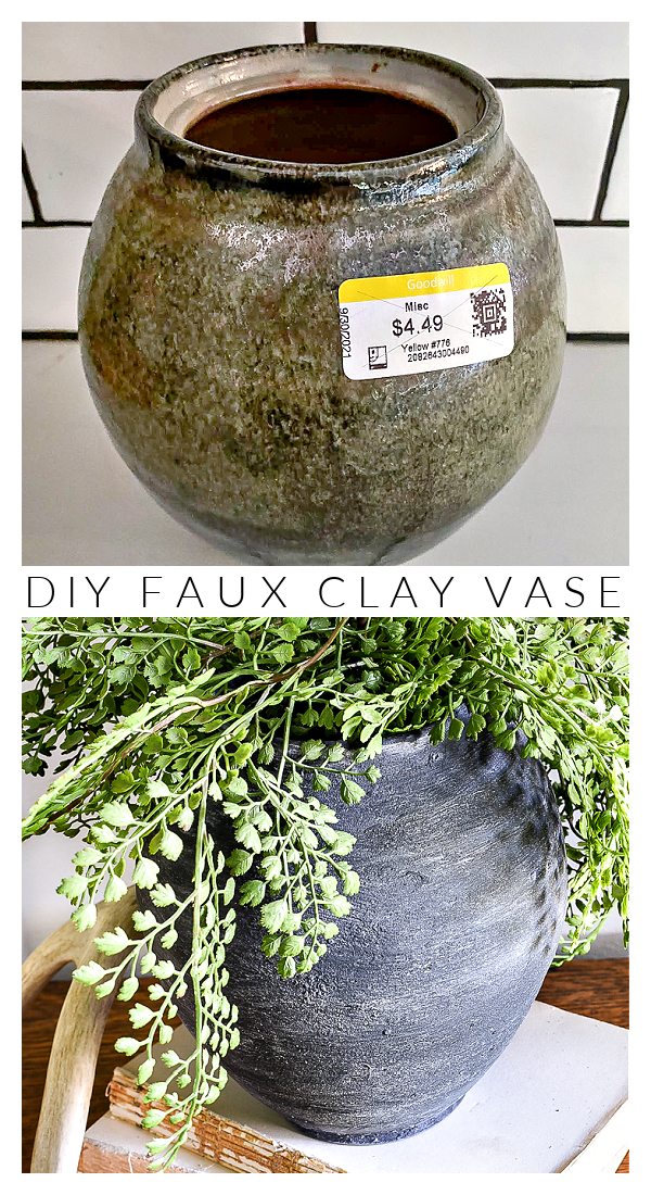 Faux clay vase before and after