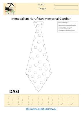 Lembar Kerja Paud Menebalkan Huruf D dan Mewarnai Gambar Dasi