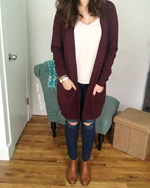 Burgundy Cardigan, Ripped Jeans, and Brown Booties