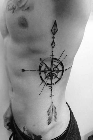 Compass Tattoo on Rib