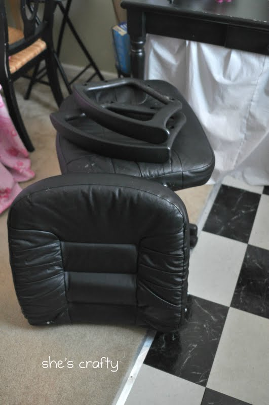 Reupholster Office Chair With Arms Funky Bed She's Crafty: Recovered