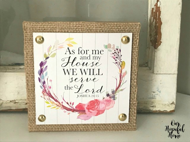 Joshua 24:15 burlap wood block Dollar Tree decor