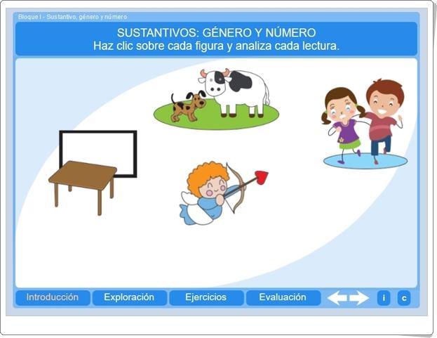 SUSTANTIVOS: GÉNERO Y NÚMERO (Aplicación Interactiva de Lengua Española de Primaria)
