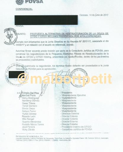 Documento oficial revela que directiva de Pdvsa conocía propuesta para refinanciar la deuda de Citgo