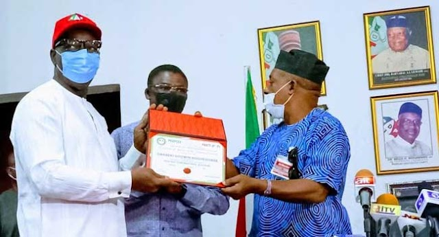Edo State Governor, Godwin Obaseki receives PDP certificate of return by Uche Secondus