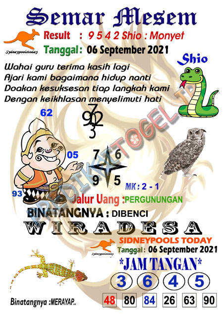 Syair Semar Mesem SDY Senin 06-Sep-2021