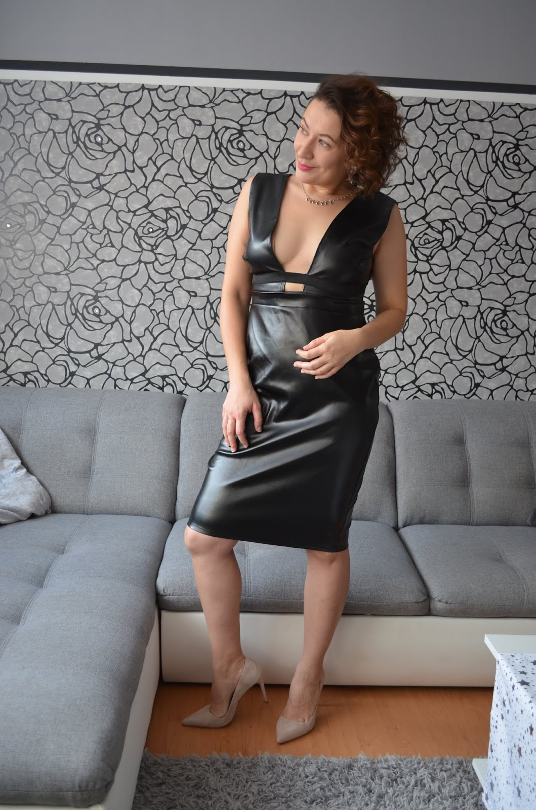 Femme Luxe Finery Faux Leather Bodycon Dress