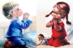 Dibujo de niños rezando antes de dormir