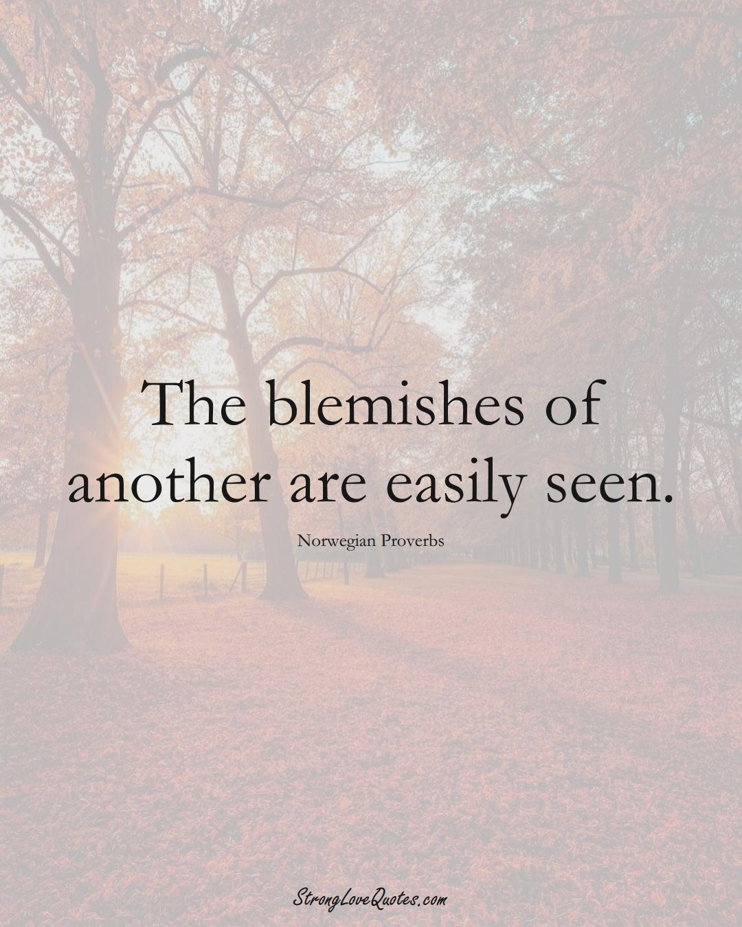 The blemishes of another are easily seen. (Norwegian Sayings);  #EuropeanSayings