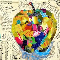 Bir elmanın renkli kağıt parçaları kullanılarak yapılmış kolaj resmi