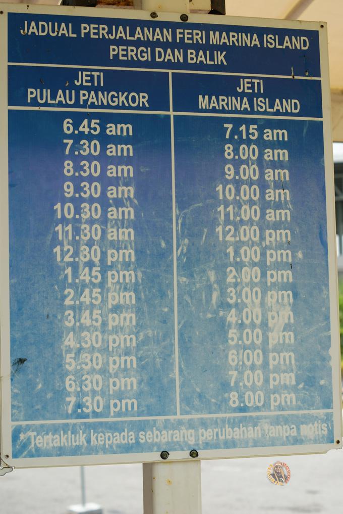 Jadual Perjalanan Tambang Feri Ke Pulau Pangkor Dari Jeti Marina Island