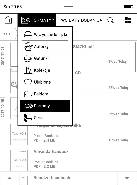 wybór trybu wyświetlania biblioteki w PocketBook TouchHD2 - zrzut ekranu