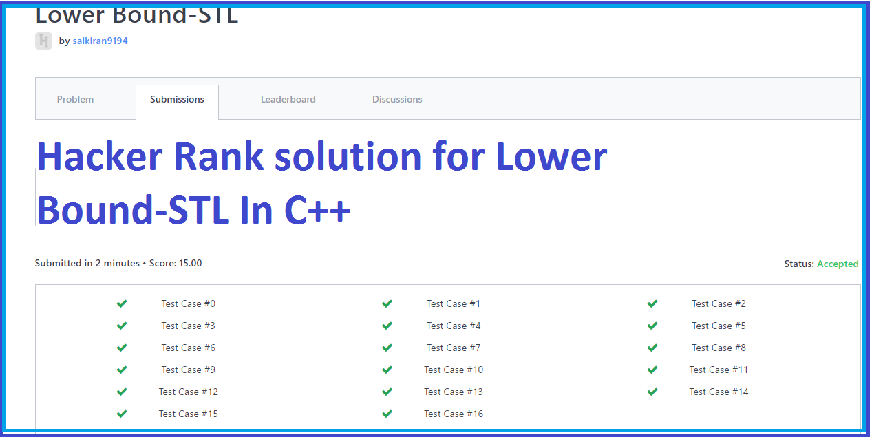 Hacker Rank solution for Lower Bound-STL In C++