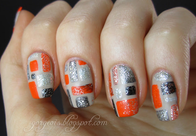 So You Think You Can Dance Cat Deeley inspired nail art featuring Zoya Farah, China Glaze Orange Knockout, Sally Hansen Tyin' the Knot!, Nubar Knight's Armor, OPI Spark de Triomphe, Zoya Luna