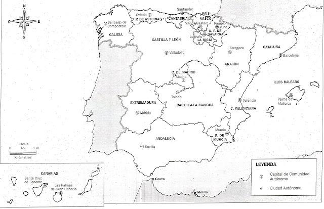 Mapa De Provincias De Espana En Blanco Y Negro Manualelni
