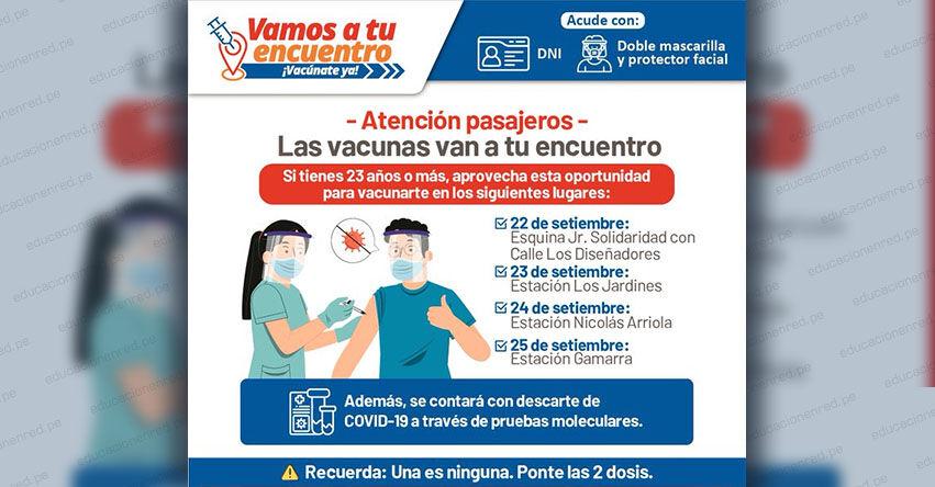 MINSA vacunará contra el covid-19 a población desde los 23 años de edad, en cuatro estaciones de la Línea 1 del Metro de Lima