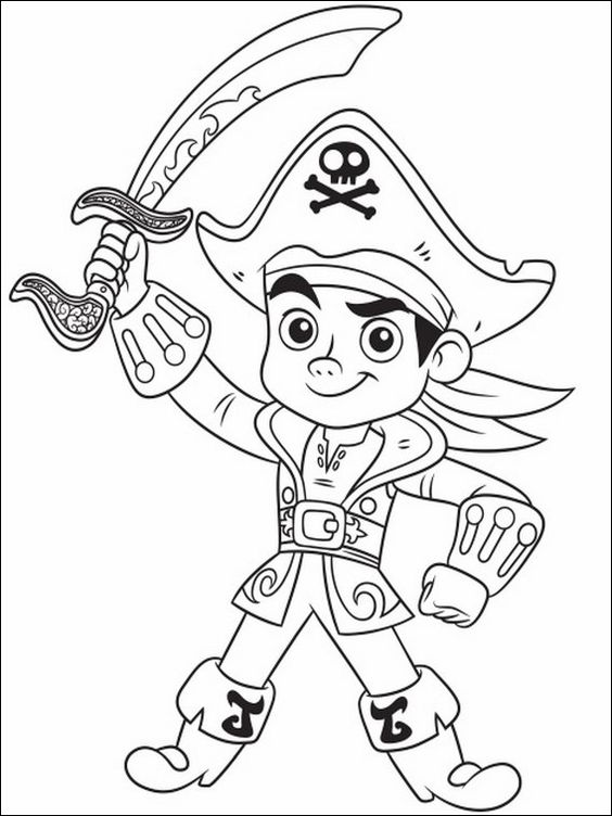 Tranh tô màu thuyền trưởng Jack dũng mãnh